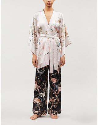 MENG Floral-pattern silk-satin kimono