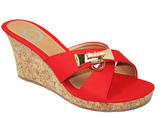 Red Gold-Accent Crisscross Wedge Slide