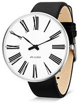 Arne Jacobsen Unisex Quartz Watch with White Dial Analogue Display and Black Leather Strap 53303