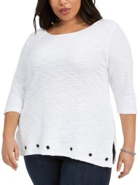 Belldini Plus Size Cotton Textured Grommet-Trim Top