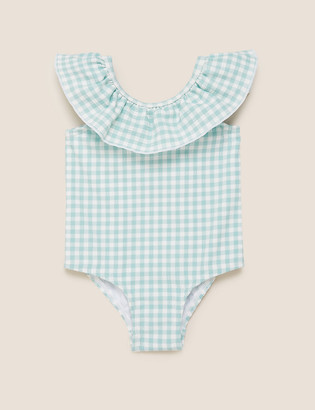 Marks and Spencer Gingham Frilled Swimsuit (0-3 Yrs)