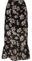 River Island Womens Black floral print frill hem midi skirt