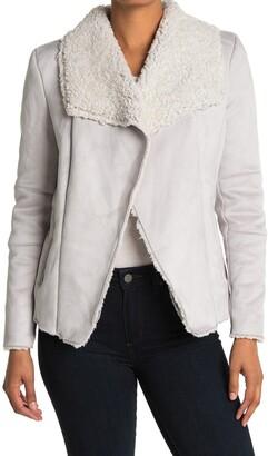 Coffee Shop Faux Suede & Faux Fur Lined Zip Jacket