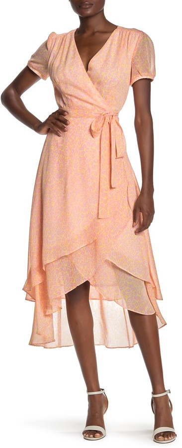 Betsey Johnson Leopard Print Wrap Midi Dress