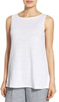 Eileen Fisher Petite Women's Organic Linen Long Bateau Neck Shell