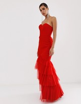 Bariano tiered tulle sweetheart bandeau maxi dress in red