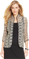 Alex Evenings Three-Quarter-Sleeve Metallic Embroidered Jacket & Shell