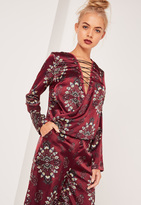 Missguided Lace Up Wrap Over Blouse Print Burgundy