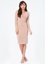 Bebe Slinky Lace Up Midi Dress