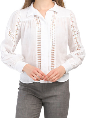 Panel Lace Button Up Top