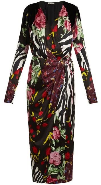 Attico - Victoria Contrasting Print Satin Midi Dress - Womens - Black Multi