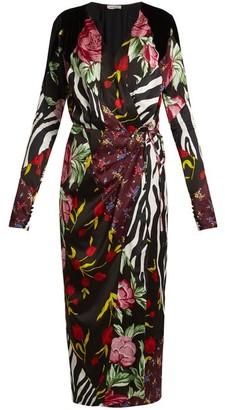 ATTICO Victoria Contrasting-print Satin Midi Dress - Black Multi