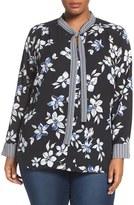 NYDJ Plus Size Women's Tie Neck Floral Blouse
