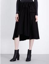 Y's YS Ruffled cotton-twill skirt