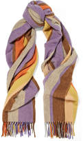 Acne Studios Canada Striped Wool Scarf - Lilac