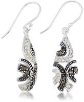 Victoria Crowne Sterling Silver Marcasite and White Crystal Dangle Earrings
