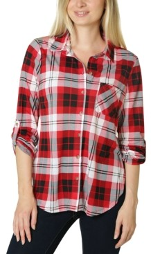 Polly & Esther Juniors' Roll-Sleeve Plaid Shirt