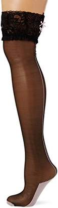 Ann Summers Women's Lace Holdup Hold-up Stockings, 15 DEN, Black/Pink, X Large