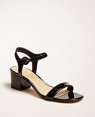 Ann Taylor Kennedy Patent Leather Block Heel Sandals