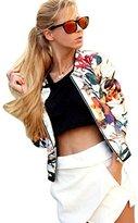 Embroidery Coat,Hemlock Women's Floral Printed Embroidery Short Jacket Long Sleeve Outwear Zipper Cardigan (M, White)