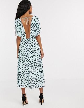 Lost Ink midi dress with shirred bodice in dalmatian polka dot