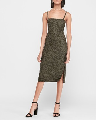 Express Leopard Print Square Neck Ribbed Midi Dress