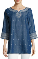 Nic+Zoe Nic + Zoe Embroidered Denim Tunic Top