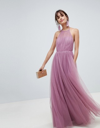 ASOS DESIGN premium halter tulle maxi dress