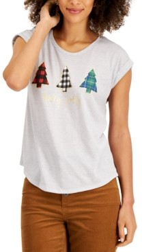 Style&Co. Style & Co Petite Graphic Print Christmas Tree Top, Created for Macy's