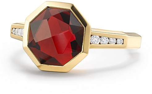 David Yurman Guilin Octagon Ring with Garnet and Diamonds in 18K Yellow Gold