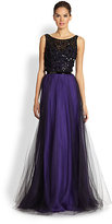 Theia Beaded Bodice Tulle Overlay Gown