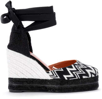 Castaner By Missoni Carina Black And White Fabric Wedge Sandal