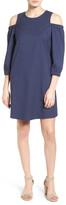 Halogen R) Denim Cold Shoulder Shift Dress (Petite)