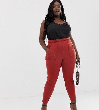 Asos DESIGN Curve textured skinny trouser with double buckle-Orange