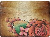 Anuschka Hand Panted Credit Card Case Lush Lilac Bronze Credit Card Holder