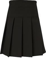 John Lewis Girls' Adjustable Waist Panel Pleat School Skirt, Black
