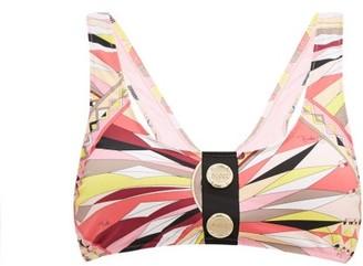 Emilio Pucci Logo-button Printed Bikini Top - Pink Print