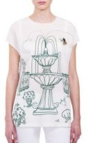 Dolce & Gabbana Silk Garden Sketch Embroidered Blouse