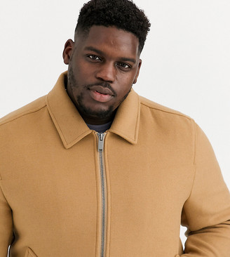 Asos Design DESIGN Plus wool mix harrington jacket in camel-Tan