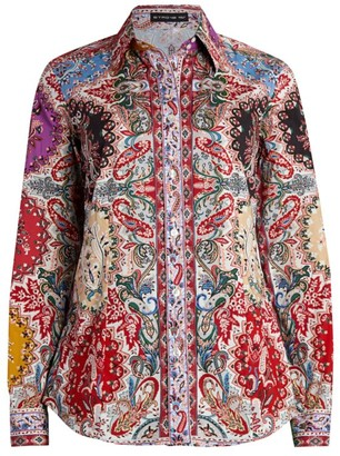 Etro Mirrored Sciancrata Stretch-Cotton Shirt