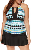 Liz Claiborne Geometric Tankini Swimsuit Top-Plus