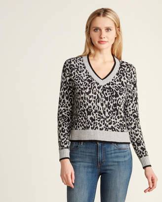 Design History Leopard Long Sleeve Cashmere Sweater