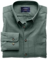 Charles Tyrwhitt Extra Slim Fit Non-Iron Twill Forest Green Cotton Dress Shirt Size Large