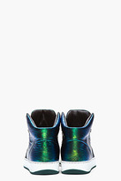 Lanvin Green and blue iridescent leather sneakers