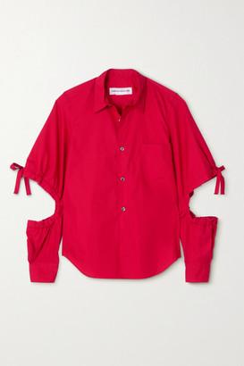 COMME DES GARÇONS GIRL Tie-detailed Cutout Cotton-poplin Shirt - Red