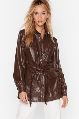 Nasty Gal Womens Faux Leather Look Back Belted Longline Jacket - Chocolate