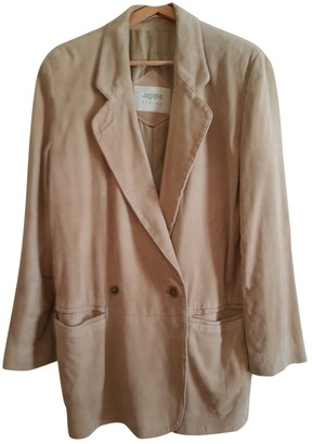 Non Signé / Unsigned Non Signe / Unsigned Beige Suede Jacket for Women Vintage