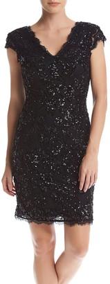 Betsy & Adam Women's Short Sequin Party Dress
