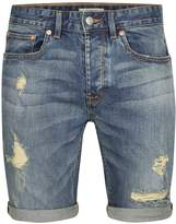 Topman Mid Wash Stretch Skinny Ripped Denim Shorts