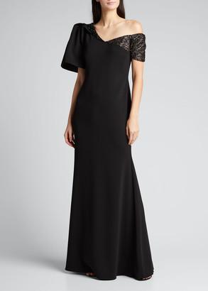 Badgley Mischka One-Shoulder Embellished Crepe Gown